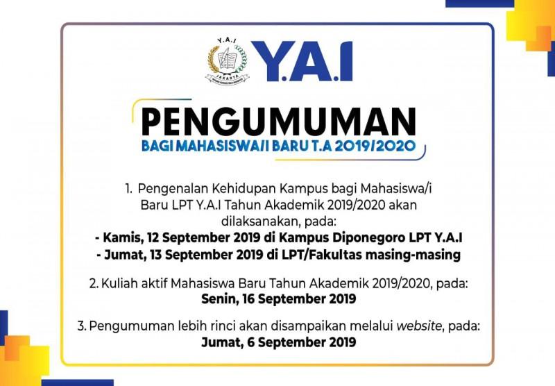 Pengumuman Mahasiwa Baru 2019/2020