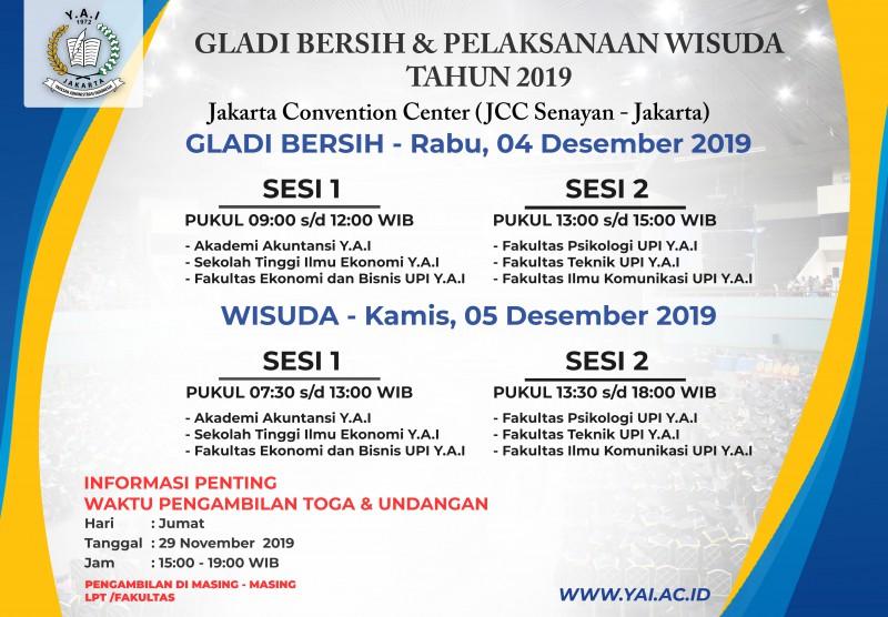 Pengumuman Wisuda Gabungan LPT Y.A.I 2019