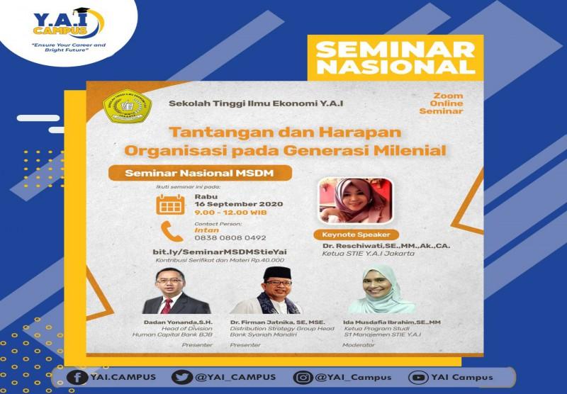 """Seminar Nasional Manajemen MSDM dengan tema  """"Tantangan dan Harapan Organisasi pada Generasi Milenial"""""""