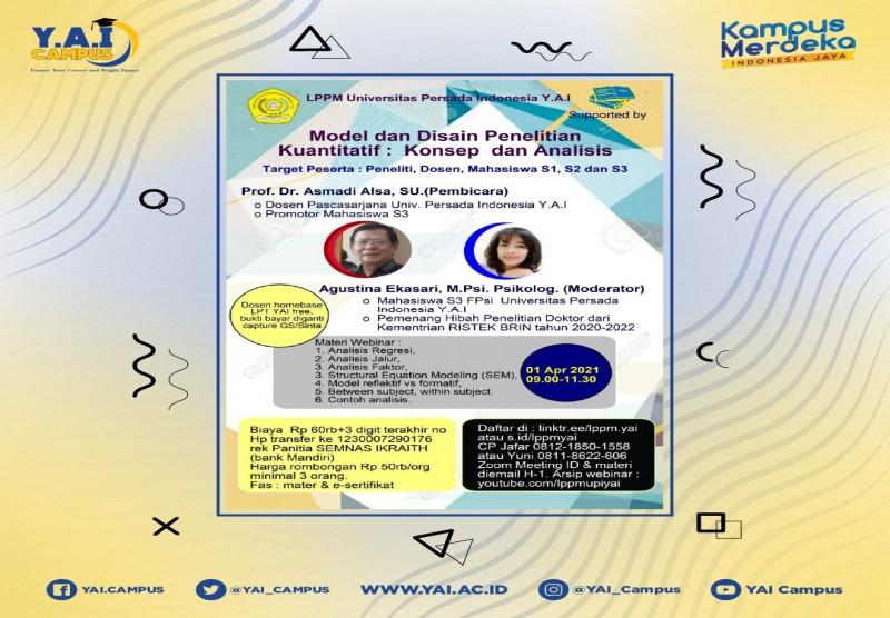 Webinar Model dan Disain Penelitian Kuantitatif : Konsep dan Analisis