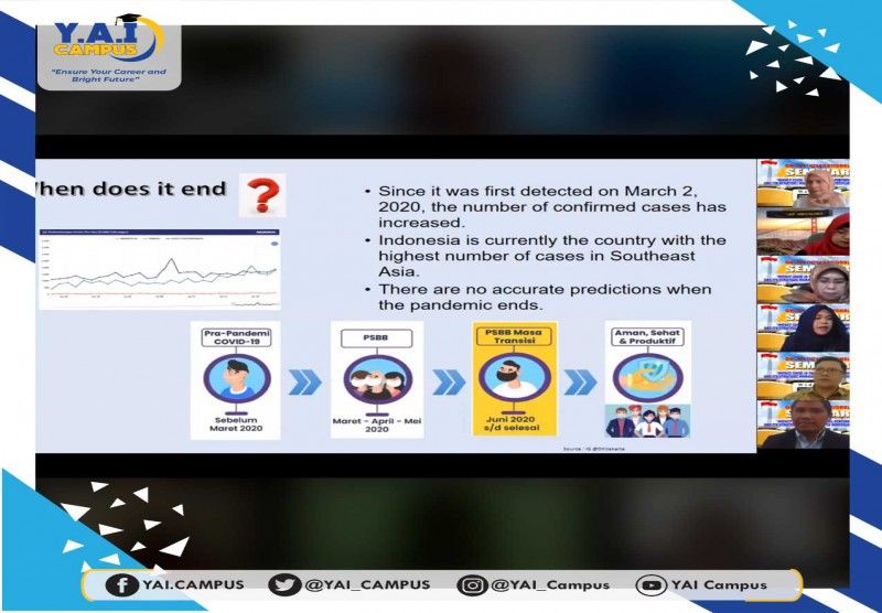 "Webinar STIE Y.A.I dengan tema ""Impact Covid 19 To Financial Performance And Its Strategic Management To Redevelop Business"""