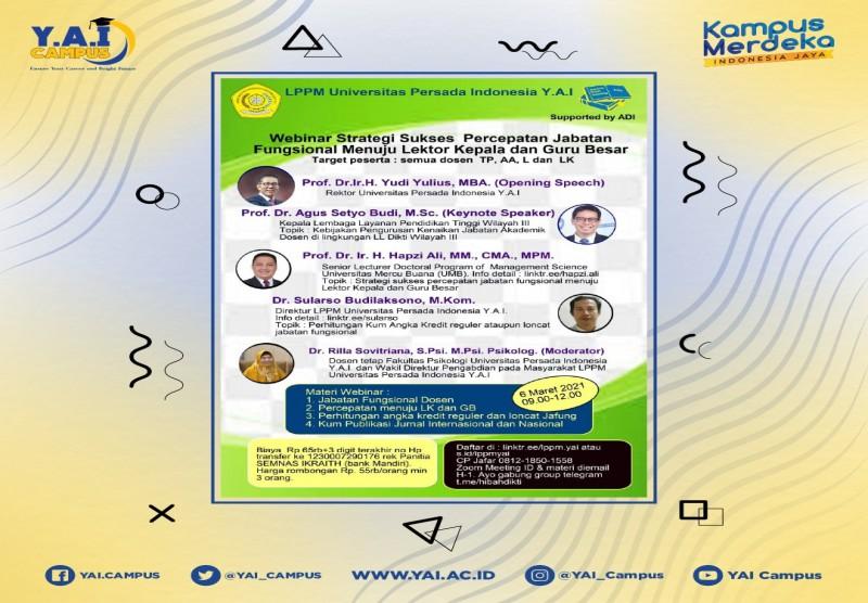 Webinar Strategi Sukses Percepatan Jabatan Fungsional Menuju Lektor Kepala dan Guru Besar