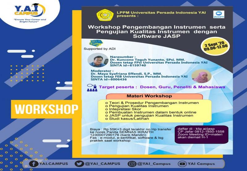 Workshop Pengembangan Instrumen  serta  Pengujian Kualitas Instrumen  dengan Software JASP