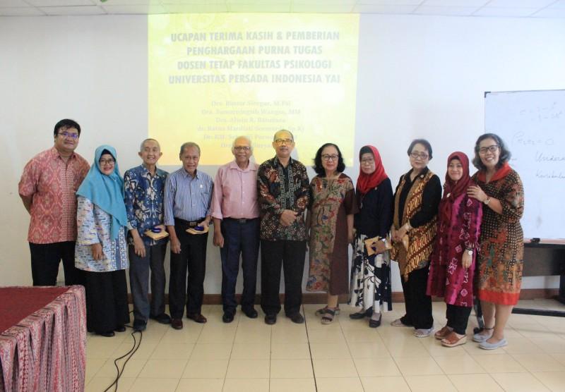 Penghargaan Purnatugas Dosen Tetap Fakultas Psikologi UPI Y.A.I