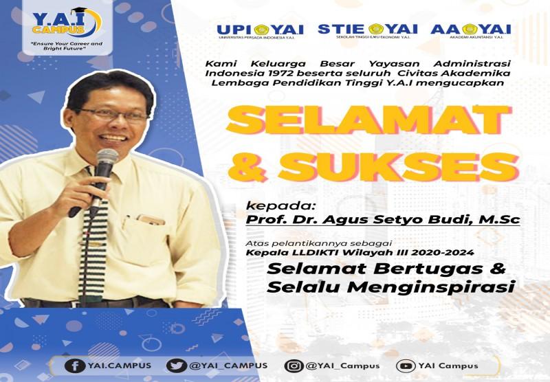Selamat dan Sukses Kepada Prof. Dr. Agus Setyo Budi, M.Sc atas dilantiknya sebagai Kepala LLDIKTI Wilayah III