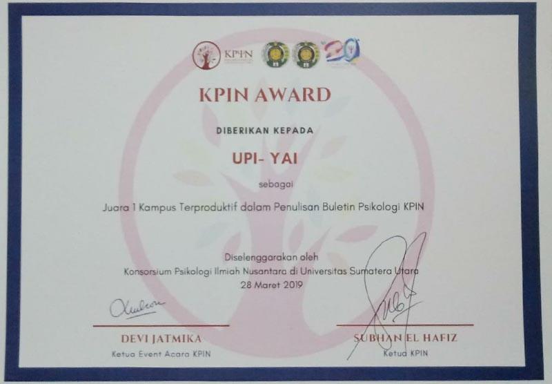 Selamat Kepada Fakultas Psikologi UPI Y.A.I