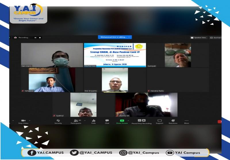 """Webinar Pengabdian Masyarakat P2M Akademi Akuntansi Y.A.I """"Strategi UMKM, di Masa Pandemi Covid 19"""""""